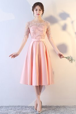 Pink Round Neck Illusion Sleeves Embroidery Gown