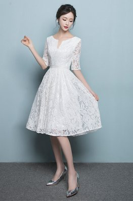 White Round V-Cut Neckline Lace A-Line Dress