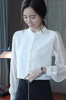 White Button Illusion Lace Sleeves Top
