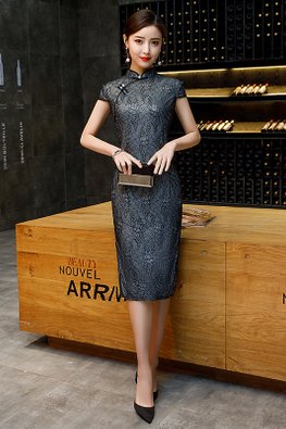 Black Mandarin Collar Lace Side Slit Cheongsam (Express)