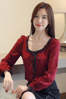 Maroon Round Scoop Neckline Lace Trimmings Top