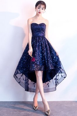 Navy Blue Sweetheart Leaf Embroidery Hi-Lo Lace-Up Gown