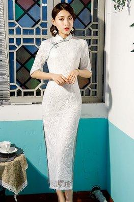 White Mandarin Collar Elbow Sleeves Lace Cheongsam
