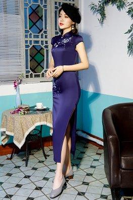 Dark Blue Mandarin Collar Cap Sleeves Embroidery Cheongsam