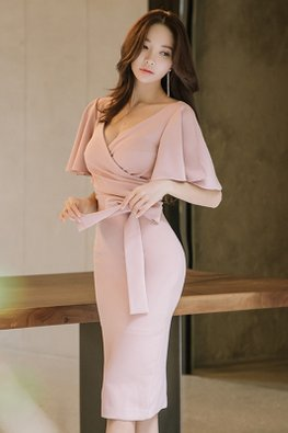 Pink Bat Sleeves Ribbon Wrap Dress