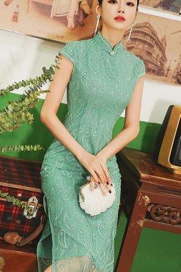 Pink / Green Mandarin Collar Leaf Print Cap Sleeves Cheongsam