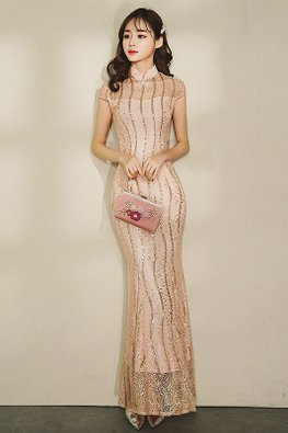 Assorted Colours Illusion Mandarin Collar Strip Sequins Mermaid Cheongsam