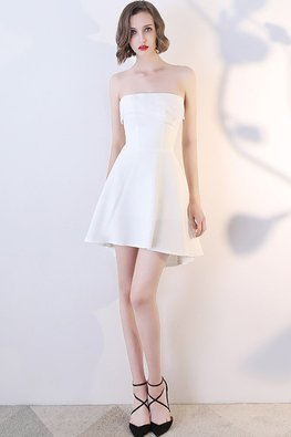 White Pleated Straight Across Hi-Lo Mini Dress