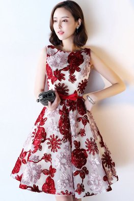 Assorted Colours Jewel Neckline 3D Floral Open Back Dress