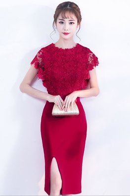 Wine Red Lace Bodice Satin Band Dress (Express)