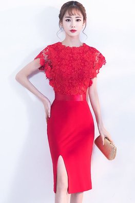 Assorted Colours Lace Bodice Satin Band Dress
