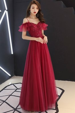 Red Sweetheart Ruffles Sleeves Floral Applique Gown