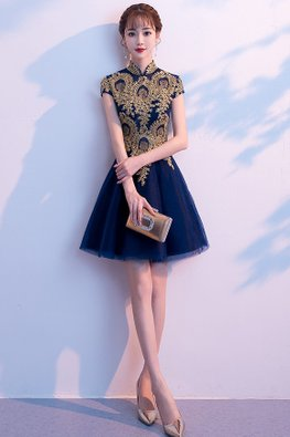 Navy Blue Mandarin Collar Applique A-Line Mini Gown (Express)