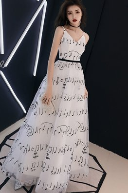 White V-Neck Musical Notes A-Line Gown