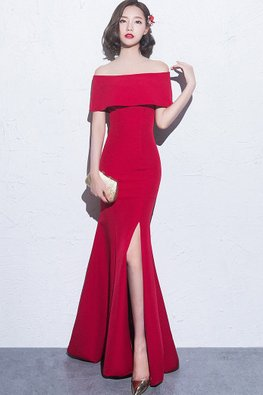 Assorted Colours Off-Shoulder Overlay Trumpet High Slit Gown