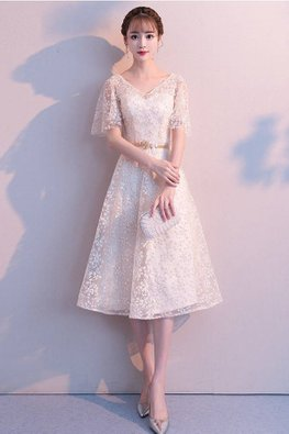 Champagne / Grey V-Neck Butterfly Sleeves A-Line Gown