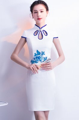 White Blue Trimmings Bejeweled Dew Drops Neckline Cheongsam