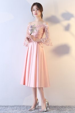 Pink Off-Shoulder Trumpet Sleeves Embroidery Gown