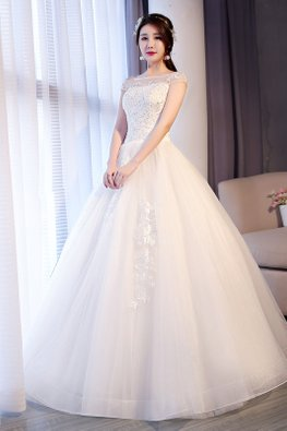 Illusion Neckline Cap Sleeves Lace Wedding Gown