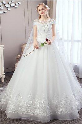 Faux Off-Shoulder Beaded Lace Wedding Gown with Butterflies Watteau Train