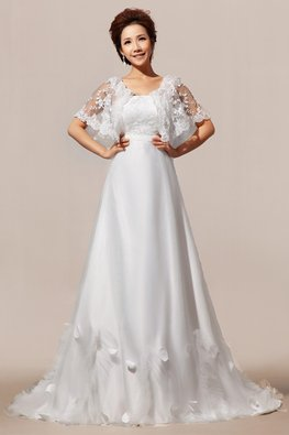 Straight Across Butterfly Lace Sleeves Petals Hem Empire Wedding Gown