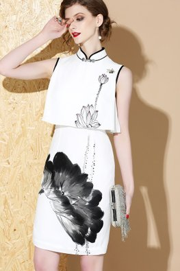 1-pc Black Calligraphy Painting Print Modern Cheongsam