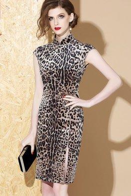 Leopard Print Mandarin Collar Cap Sleeves Cheongsam