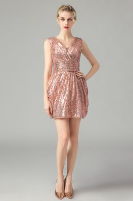 Rose Gold V-Neck Sequins Bubble Gown