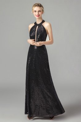 Black Sequins Peekaboo Halter Gown