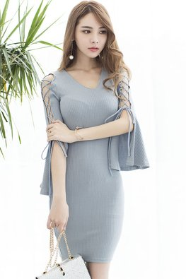 Grey Blue V-Neck Trumpet Lace-up Sleeves Dress
