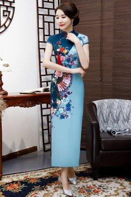 Blue Mandarin Collar Red Trimmings Fan Floral Cheongsam