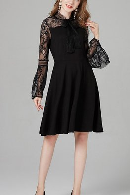 Black Illusion Ribbon Lace Trumpet Sleeves Dress