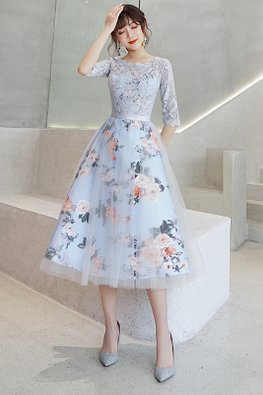 Light Blue Round Neck Lace Elbow Sleeves Floral Gown