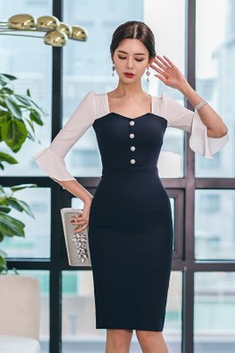 White Blue Sweetheart Button Trumpet Sleeves Sheath Dress
