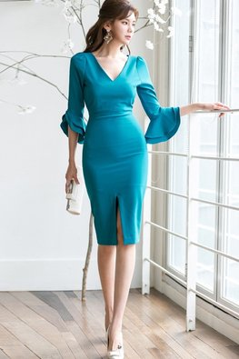Blue V-Neck Trumpet Sleeves Front Slit Dress