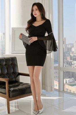 Black Wide V-Neck Pearl Illusion Trumpet Sleeves Mini Dress