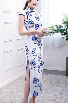 White Blue / Orange Yellow Mandarin Collar Floral Cheongsam