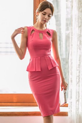 Watermelon Red Cut-Out Keyhole Peplum Dress