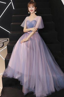 Pink Blue Sweetheart Butterfly Illusion Sleeves Gown