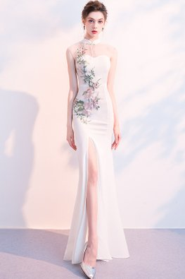 White Mandarin Collar Illusion Sweetheart Floral Embroidery Gown