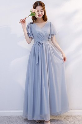 Grey V-Neck Butterfly Sleeves Dress