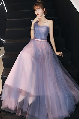 Pink Blue Sweetheart One-Shoulder Lace-Up Gown