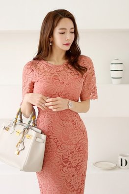Black / Coral Pink Illusion Round Neck Lace Dress