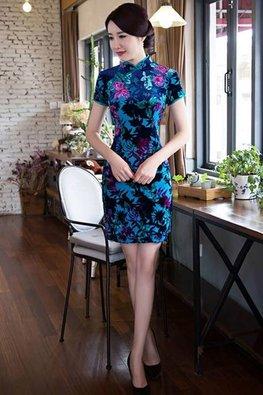 Mandarin Collar Velvet Cheongsam (Express)