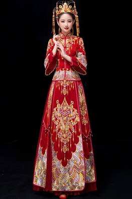 Red Double Sleeves Tassels Traditional Kua
