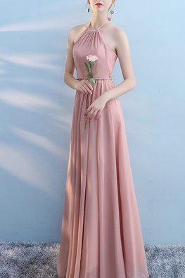Pink Halter Ribbon Neck Rope Twist Dress