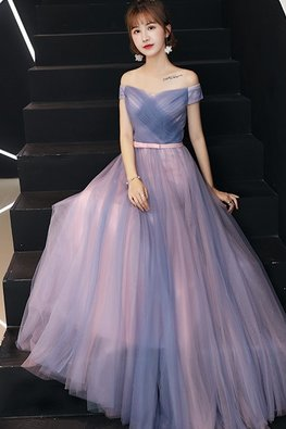 Pink Blue Sweetheart Off-Shoulder Lace-Up Gown
