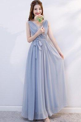 Grey V-Wrap Neckline Ribbon Dress (Express)