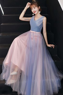 Pink Blue V-Neck Lace-Up Gown