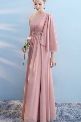 Pink One-Shoulder Wide Sleeves Lace-Up Dress